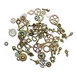YXJD 50 Gramm Steampunk Anhänger mit 40 Stück Retro Schlüssel Anhänger Vintage Schmuck Skelett Metall Pendant zufällige Formen für Halskette Schmuckherstellung DIY Deko 1-6cm