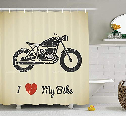 JIEKEIO Manly Decor Shower Curtain Set, Vintage Grunge Flat Looking Motorcycle and I Love My Bike Text Silhouette Art, Bathroom Accessories,60 * 72inch Inches -