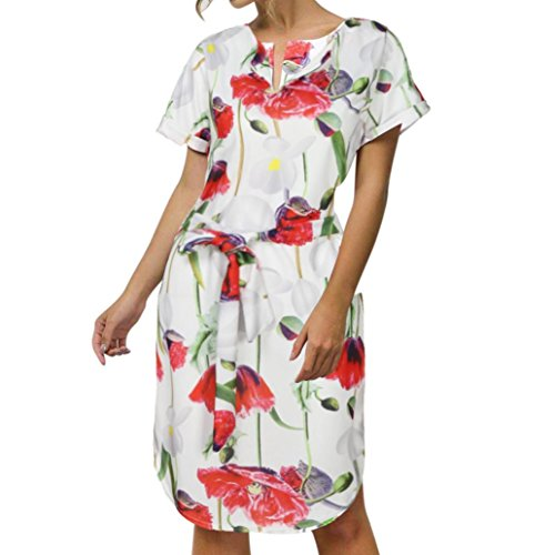Damen Print Kleid Yesmile Damen Casual Kurzarm Ausschnitt Gedruckt Drei Viertel Ärmel Geometrische Taste Front Kleid mit Kordelzug Taille V-Neck Casual Polyester Kurz Kleid Party Kleider Mini Solid Casual Hals Bedruckt Maxi Dress Casual Langarm Druck Floral Ladies-Neck Mini Dress (XL, Rot) (Print Rock Geometrische)