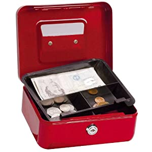 5 Star Facilities Cash Box with 5-compartment Tray Steel Spring Lock 8 Inch W200xD160xH70mm Red