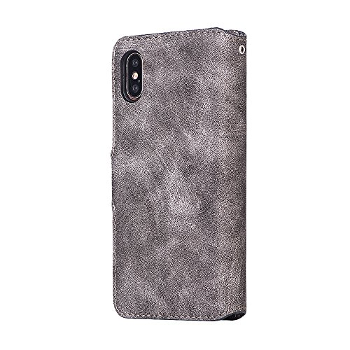 iPhone X Hülle, Valenth Retro Muster Brieftasche Leder Cover mit ID Card Slots [Stand Feature] für iPhone X Grau