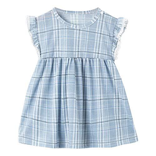 FBGood Mädchen Prinzessin Rock Kinder Plaid Ärmellos Kleidung Sommer Baby Outfits Spielanzug Neugeborenes Kleid (Plaid Micro Rock)