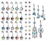 YADOCA 25 Stücke 14G Bauchnabel Ringe Multicolor CZ Edelstahl Baumeln Nabel Ringe Gebogene Barbell Piercing Schmuck