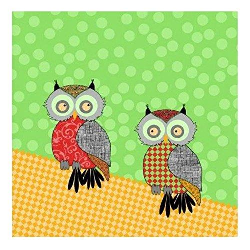 Serviette 33x33 cm Atelier moderne Eulen - Modern Owls grün - hochwertige Serviette