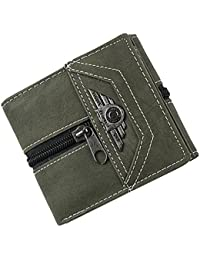a98e077a3431 Phenovo Vintage Mens Trifold Design Credit Card ID Storage Holder Canvas  Money Clip Slim Pocket Wallet 3 Colors - army…