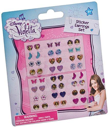 Disney Violetta 117006+117037 - Sticker-Ohrringe, 24 Stück, 11 x 12.5 cm und 5 Metallarmbänder mit 3 Anhängern, 7 cm