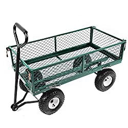 Large Garden Trolley Cart Truck 4 Wheels With Interior Cover Transport Metal Wheelbarrow Large 300kg 95x50cm (Trolley05)