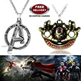 (2 Pcs AVENGERS SET) - AVENGERS SILVER LARGE LOGO & IRON MAN GOLD COLOUR FACE AND HANDS IMPORTED METAL PENDANTS WITH CHAIN. LADY HAWK DESIGNER SERIES 2018. ❤ ALSO CHECK FOR LATEST ARRIVALS - NOW ON SALE IN AMAZON - RINGS - KEYCHAINS - NECKLACE