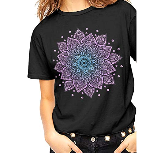 Fashionkilla - Camiseta Oversized Modelo Mandala para Mujer (Grande (L)) (Negro)
