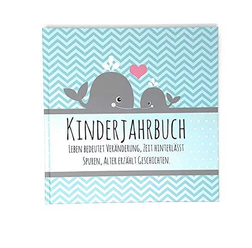 Babytagebuch - Jahrbuch Wal - Kinderjahrbuch - Erinnerung an die Kindheit - Geschenk zur Geburt, Taufe, Weihnachten, Erinnerungsalbum Kind