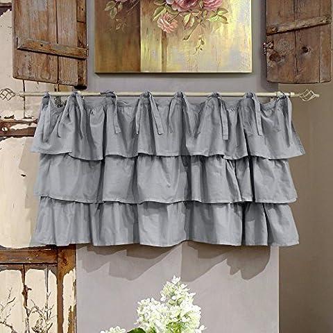 Vorhang Gardine Scheibengardine Bistrogardine Landhaus Shabby Chic - Rüsche Volant - 130x60 - Grau - 100%