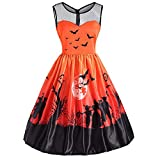 Damen Vintage O-Neck Print Ärmelloses,TWIFER Madchen Halloween Party Swing Kleid Abendkleider