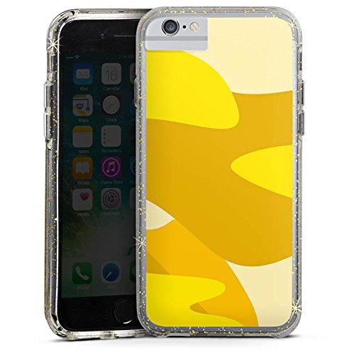 Apple iPhone X Bumper Hülle Bumper Case Glitzer Hülle Pattern Muster Gelb Bumper Case Glitzer gold