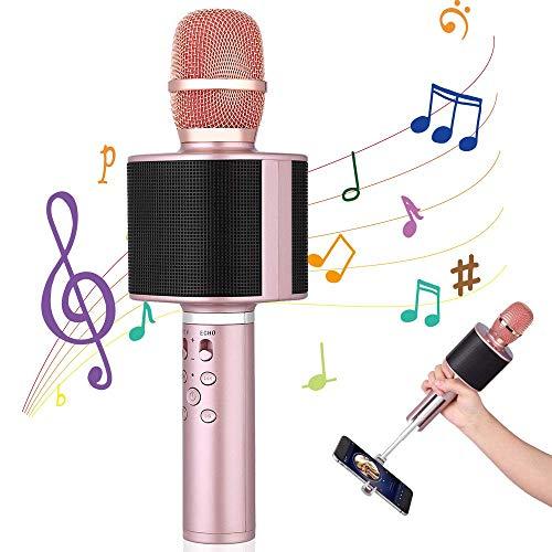MikrofonKinder , Mbuynow Kabelloses Mikrofon mit Selfistick für Videoaufnahme Tragbar Karaoke Mikrofon mit Handyhalterung TWS 4.1 Bluetooth Mikrofon für PC iPhone iPad Android(rosegold)