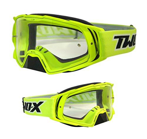 TWO-X Rocket Crossbrille neon gelb klar MX Brille Motocross Enduro Klarglas Motorradbrille Schutzbrille mit Nasenschutz Anti Scratch Fast Change