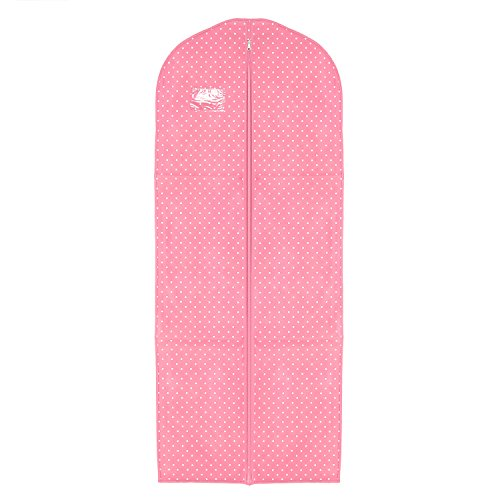 Personalisiertes Pink mit Weiß Punkt Polka Dots 182,9cm atmungsaktiv Kleid Staubbeutel, Rosamit weißen Punkten, 24
