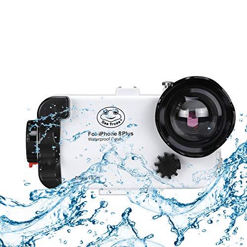 Custodia subacquea impermeabile per iPhone 8 Plus, 195FT / 60M Nuoto Surfing Custodia protettiva per lo snorkeling con lente a cupola grandangolare per iPhone8 Plus