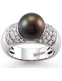 gooix 943-3362 Damen Ring Silber mit weißen Zirkonia und grau-grüner Muschelkernperle Größe 56 (17,8 mm)