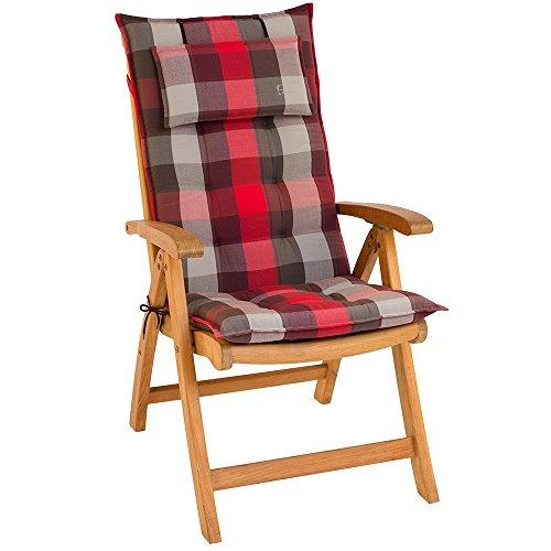 SUN GARDEN Hochlehnerauflagen Inco 119x50x8 mit abnehmbarem Kopfpolster (nur Auflage ohne Stuhl)