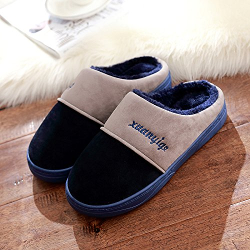 DogHaccd pantofole,Inverno paio di pantofole di cotone spessa femmina home interno antiscivolo, soffici pantofole uomini per l'inverno. Blu scuro3