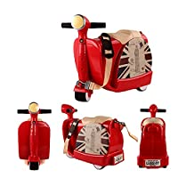 Ancaixin Kids' Ride-On Suitcase Children's Luggage Cart Storage Toy Box with Pull Strap Red