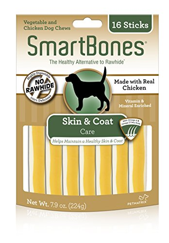 SmartBone Healthy Chew Functional Sticks Skin & Coat Dog Vitamins Minerals 16Pk -