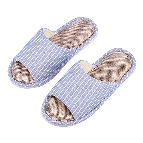 WILLIAM&KATE Fashion Unisex Paar Hausschuhe Casual Anti-Slip Hausschuhe Indoor & Outdoor Slipper Floor Slipper Blau Gitter