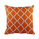 43 x 43cm Geometric Pattern Design Moroccan Tile Print Cushion Pillow Outdoor Cover - for Sofa Bed Gift Home Decor Cushion - Orange