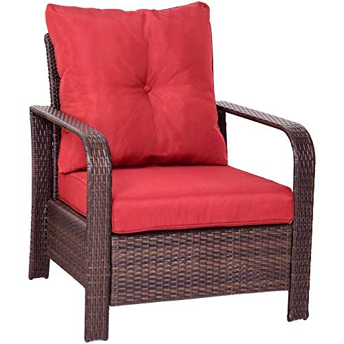 AOLI 3 Stücke Rattan Wicker Patio Bistro Möbel Set Stühle Aufbewahrungstisch + Kissen Neue Gartenmöbel-Outdoor Gartenmöbel Sets (Wicker Patio Möbel)