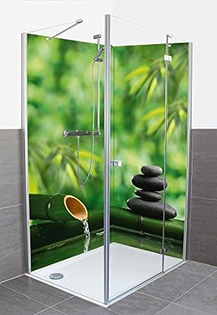artland dusche bad rckwand wandverkleidung aus aluminium verbund platte motiv fotohunter spa stillleben mit bambusbrunnen und zen stein wellness zen stein - Aluminium Ruckwand Dusche 2