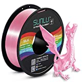 SUNLU Silk PLA Filament 1.75mm, 3D Printer Filament Silk, Silky Shiny Filament PLA for 3D Printers and Pens, 1kg(2.2Lbs)/Spool, Silk Pink