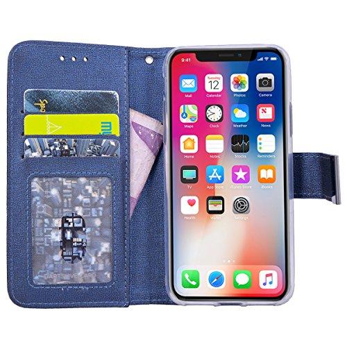 Custodia per iPhone X, VemMore Case 2 in 1 Staccabile Portafoglio in Pelle PU Flip Cover con Multifunzionale Stent Slot Supporto per Porta Carte di Credito Copertura di Fibbia Magnetica del Cornice De Blu