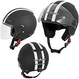 Motorradhelm Motorrad Roller Offenes Jet Helm Viser ECE 22 05 Matt Schwarz S