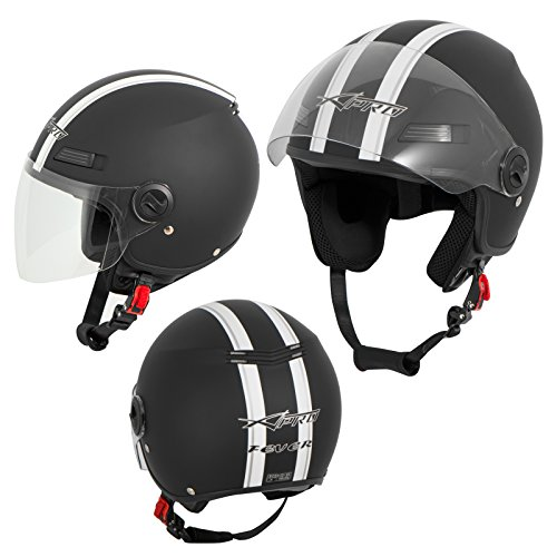 A-Pro Motorradhelm Motorrad Roller Offenes Jet Helm Viser ECE 22 05 Matt Schwarz S