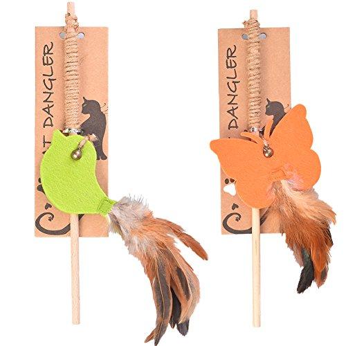 Petacc-Juguete-de-plumas-para-gatos-juguete-interactive-con-plumas-2-unidades-Naranja-y-verde
