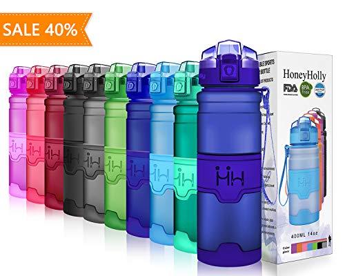 Honeyholly bottiglia d'acqua sportiva 1000ml/32oz, senza bpa tritan plastica, riutilizzabile & a prova di perdite borraccia acqua a con filtro per bambino, scuola, palestra, sport(matte marina militare)