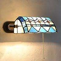 stile mediterraneo Soggiorno Lampade da parete camera da letto Corridoio applique bagno Blue & bianco ombra di vetro anteriore a specchio con cavo interruttore luce a parete - Blue Moon Vetro