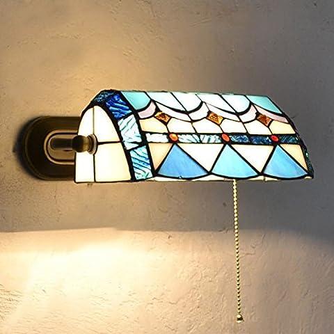 KMDJ stile mediterraneo Soggiorno Lampade da parete camera da letto Corridoio applique bagno Blue & bianco ombra di vetro anteriore a specchio con cavo interruttore luce a parete - Blue Moon Vetro
