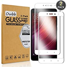[2 Pack] Owbb Tempered Glass Screen Protector For Xiaomi Redmi Note 4X White Full Coverage Film 99% Hardness High Transparent Explosion-proof