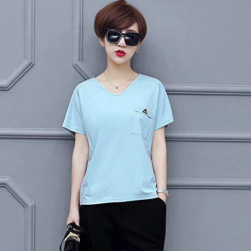 MoMo T-shirt manches courtes à manches courtes T-shirt à manches longues en coton col roulé,bleu