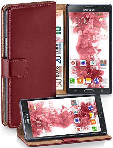 moex® Booklet mit Flip Funktion [360 Grad Voll-Schutz] für Samsung Galaxy Note 4 | Geldfach und Kartenfach + Stand-Funktion und Magnet-Verschluss, Dunkel-Rot