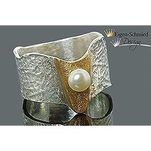 """Goldschmiede Perlenring"""" Melody"""" in 925er Sterling Silber mit einer Teilvergoldung, Perle, Perlen, Perlenschmuck, Schmuck, Silberschmuck, Goldschmiedearbeit, Unikat, handgefertigt"""