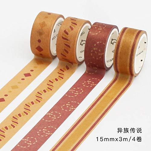 JBSZWDD Washi Tape 4 Teile/Paket Sakura Lemon Regen Washi Tape Set Abdeckklebeband Dekorative Diy Stick Label