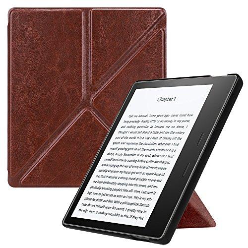 Preisvergleich Produktbild Fintie Hülle für Kindle Oasis 2017 - [Origami Serie] Leichte Multi-Winkel Stand Cover mit Auto Wake / Sleep Funktion für Amazon Kindle Oasis (9. Generation - 2017 Modell),  Braun