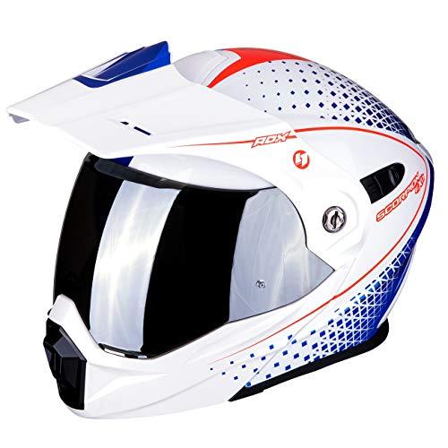 SCORPION Casque moto ADX-1 HORIZON Pearl white-Red-Blue, Blanc/Bleu/Rouge, XL