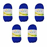 5er Pack Uni Wolle blau 100% Polyacryl Wolle 250g, Garn zum Stricken & Häkeln, Marke: LaLuna®
