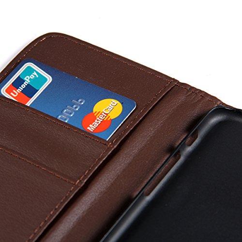 """JewelryWe PU Leder Handy Tasche Brieftasche Schutzhülle Klapp Hülle Etui Wallet Flip Case Cover für Apple iPhone 6(4,7""""), Farbe Braun Braun"""