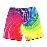 Cupei Hombres Pantalones Cortos de Playa Nadar Secadero de Secado rápido Tablas de veranoShorts Ocio Ocio Deportes Molino de Viento Colorido 13 @ 3XL