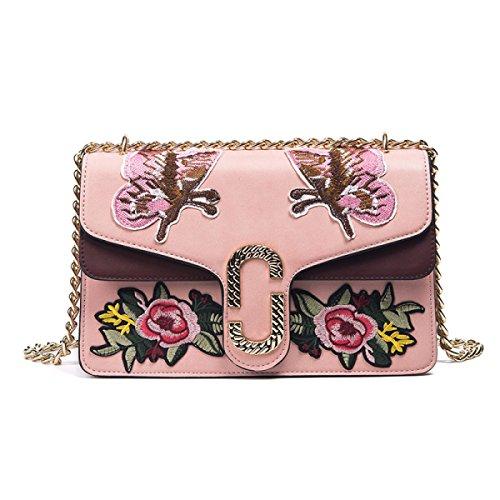 STRAWBERRYER Fiori E Uccelli Ricamo Primavera E L'estate Delle Signore Di Modo Ricamato Tracolla Messenger Pink