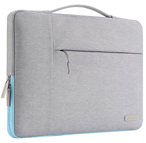 MOSISO Polyester Tissu Multifonctionnel Sac à Main Mallette Housse pour 11-11,6 Pouces MacBook Air, Ultrabook Netbook Tablette, Gris et Bleu Chaud